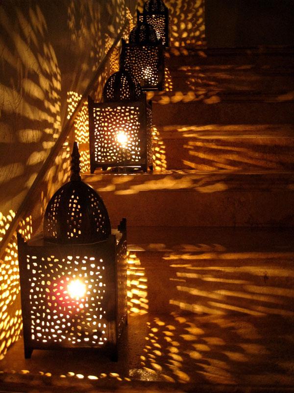 Lanterns lighting staircase.  © Tracey Tea